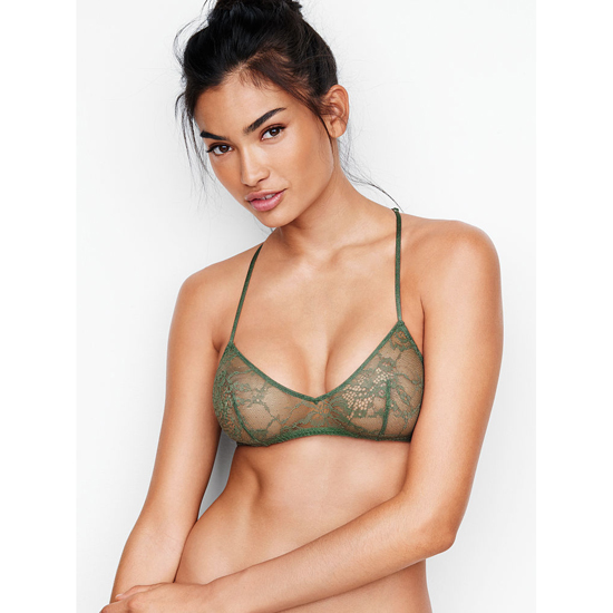 VICTORIA'S SECRET Cadette Green NEW! Lace & Mesh Scoopneck Bralette Outlet Online