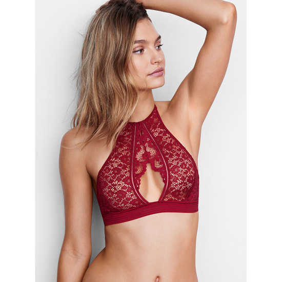 VICTORIA\'S SECRET Red Lacquer NEW! Keyhole High-neck Bra Outlet Online