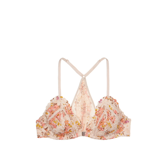 VICTORIA\'S SECRET Champagne Floral Printed Lace NEW! Front-Close Unlined Bralette Outlet Online