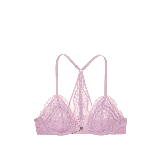 VICTORIA\'S SECRET Fair Orchid Lace With Sheer Pink Crossdye NEW! Front-Close Unlined Bralette Outlet Online