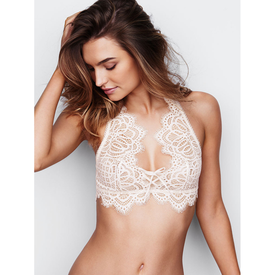 VICTORIA\'S SECRET Coconut White NEW! The Laced-Up Bralette Outlet Online
