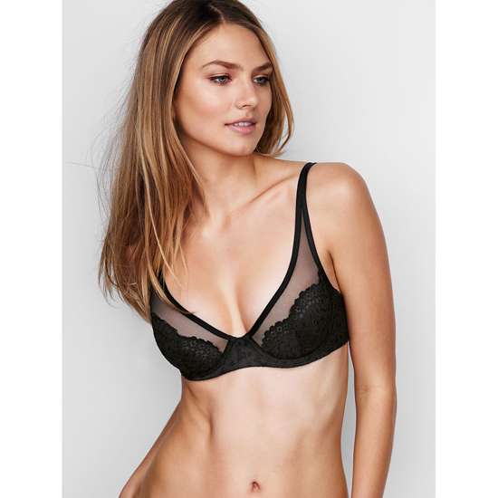 VICTORIA\'S SECRET Black W/ Black Lace Lace Plunge Unlined Demi Bra Outlet Online