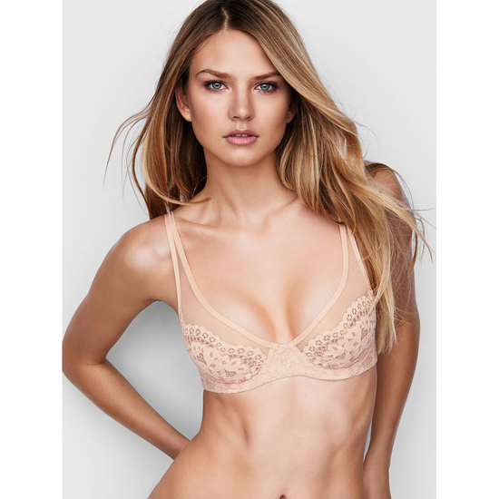 VICTORIA\'S SECRET Champagne W/ Coconut Lace NEW! Lace Plunge Unlined Demi Bra Outlet Online