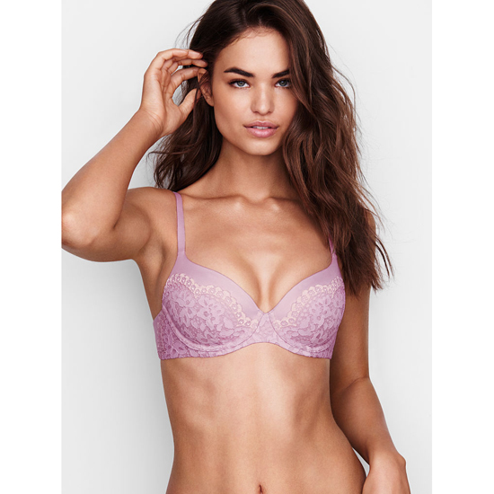 VICTORIA\'S SECRET Fair Orchid With Sheer Pink Crossdye Demi Bra Outlet Online