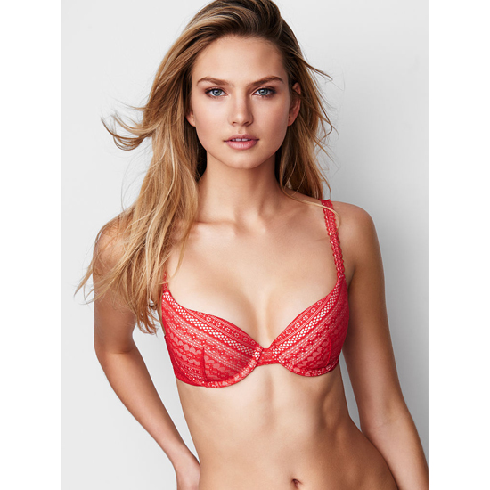 VICTORIA'S SECRET Bright Cherry Lace NEW! Demi Bra Outlet Online