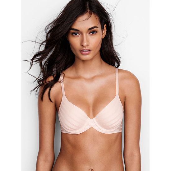 VICTORIA\'S SECRET Coconut White Textured Stripe NEW! Demi Bra Outlet Online