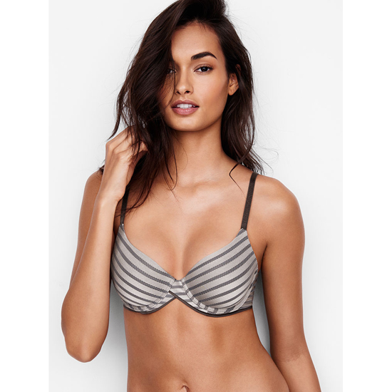 VICTORIA'S SECRET Sterling Pewter Textured Stripe NEW! Demi Bra Outlet Online