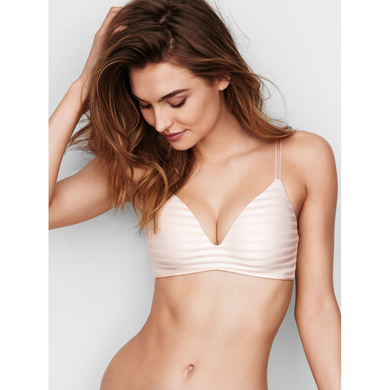 VICTORIA\'S SECRET Coconut White Textured Stripe NEW! Wireless Bra Outlet Online
