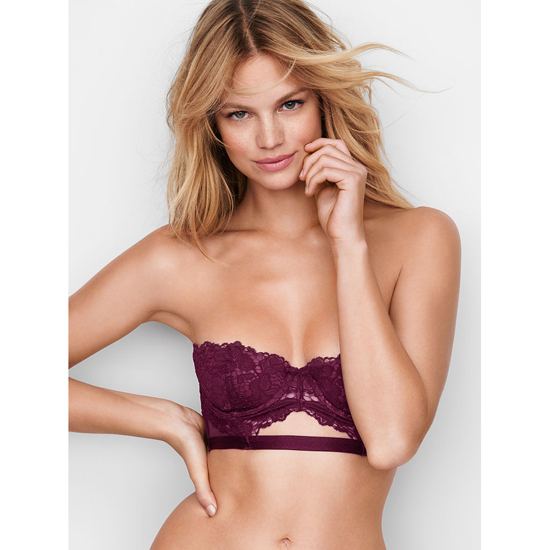 VICTORIA\'S SECRET Ruby Wine With Sweet Plum Strapless Lace Bustier Outlet Online