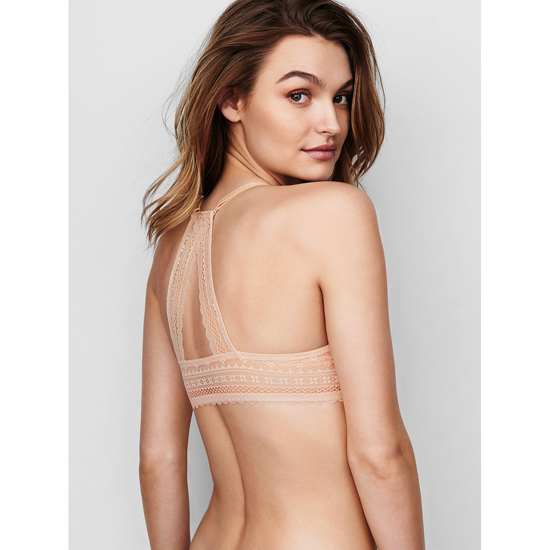 VICTORIA\'S SECRET Champagne Triangle Lace Racerback NEW! Perfect Coverage Bra Outlet Online