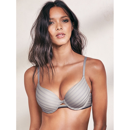 VICTORIA\'S SECRET Sterling Pewter Textured Stripe Perfect Shape Bra Outlet Online