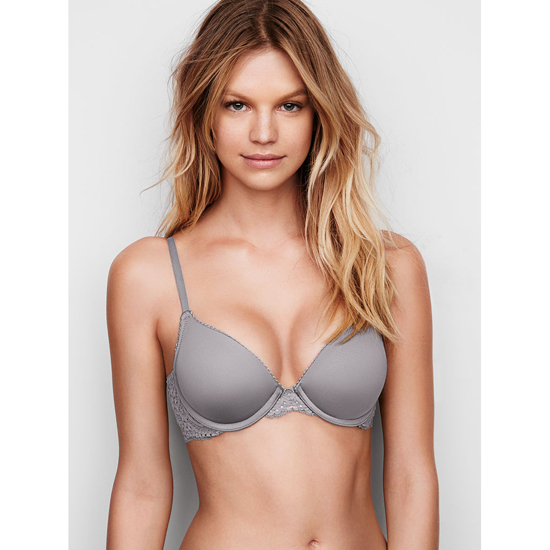VICTORIA\'S SECRET Sterling Pewter With Solid Lace Push-Up Bra Outlet Online