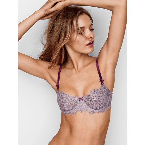 VICTORIA'S SECRET Sunset Grey Lace With Ruby Wine NEW! The Unlined Uplift Bra Outlet Online