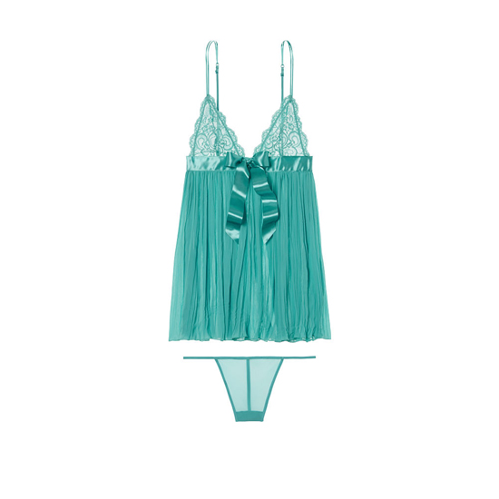 VICTORIA'S SECRET Cozumel Teal Pleated Babydoll Outlet Online