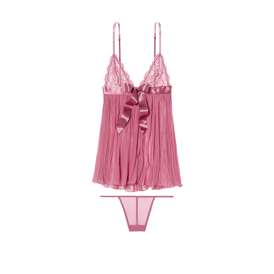 VICTORIA\'S SECRET Rosy Mauve NEW! Pleated Babydoll Outlet Online