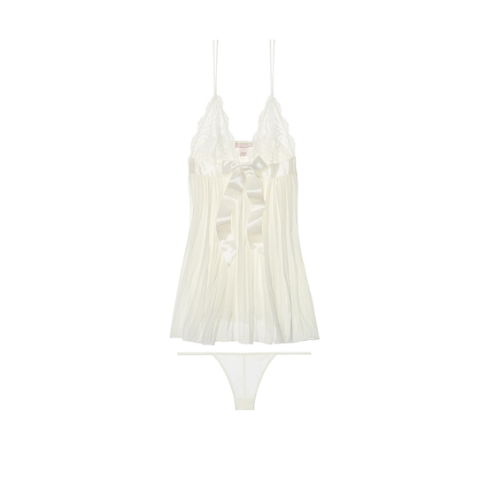 VICTORIA'S SECRET Ivory Pleated Babydoll Outlet Online