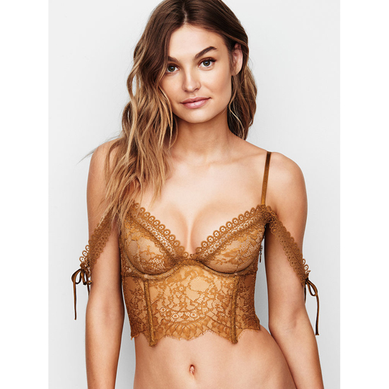 VICTORIA'S SECRET Bronze Brown NEW! Lace Off-the-Shoulder Bustier Outlet Online