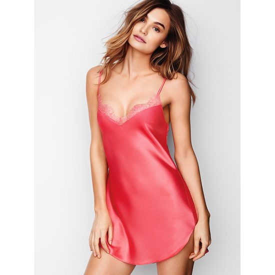 VICTORIA'S SECRET Pink Lacquer NEW! Lace-trim Satin Slip Outlet Online