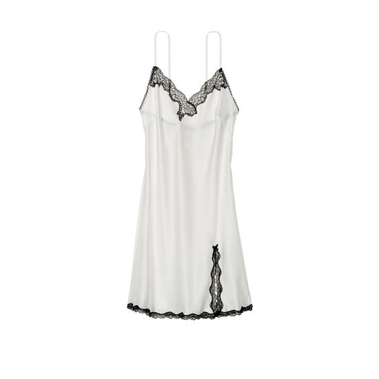 VICTORIA\'S SECRET White Lace-trim Slip Outlet Online