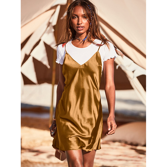 VICTORIA\'S SECRET Bronze Brown NEW! Crossback Satin Slip Outlet Online