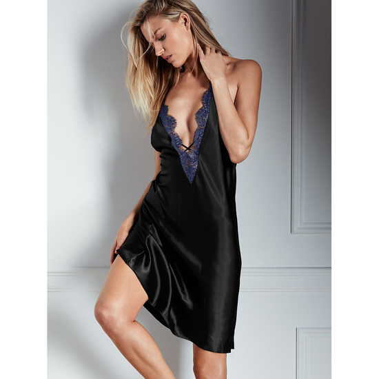 VICTORIA'S SECRET Ensign With Black Xdye Lace-trim Midi Slip Outlet Online