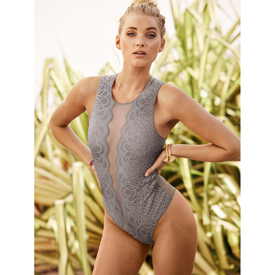 VICTORIA'S SECRET Sterling Pewter NEW! Lace & Mesh Bodysuit Outlet Online