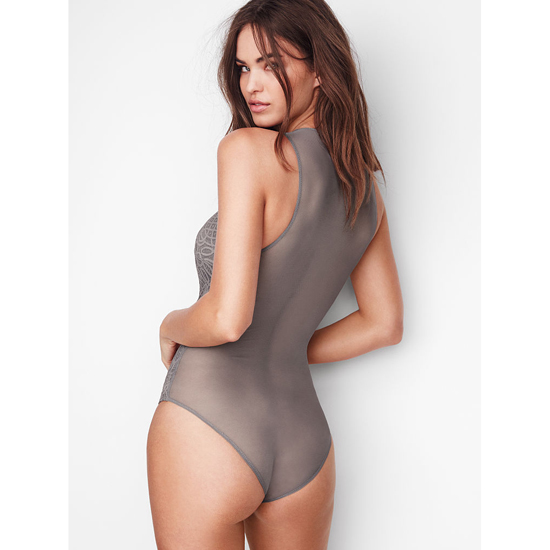 VICTORIA\'S SECRET Sterling Pewter NEW! Lace & Mesh Bodysuit Outlet Online