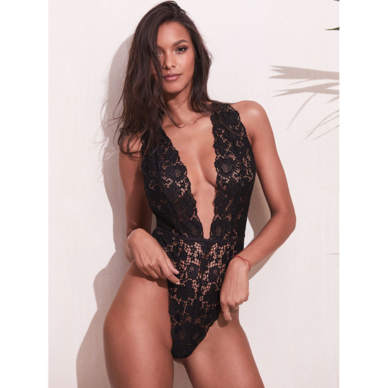 VICTORIA\'S SECRET Black NEW! Crossback Lace Plunge Teddy Outlet Online