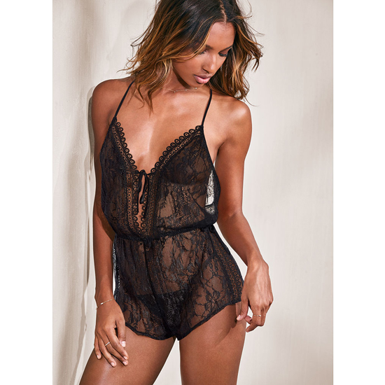 VICTORIA\'S SECRET Black NEW! Lace Romper Outlet Online