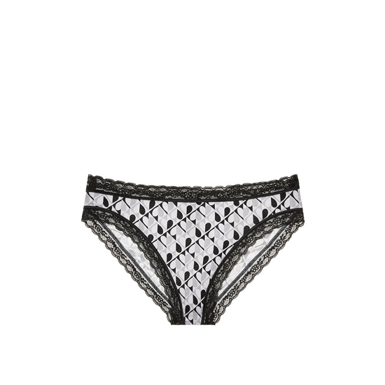 VICTORIA\'S SECRET Black And White Heart Print NEW! Lace-trim High-leg Brief Panty Outlet Online