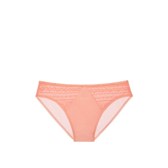 VICTORIA\'S SECRET Lip Smacker Peach Skinny Stripe NEW! Diamond Lace High-Leg Brief Panty Outlet Online