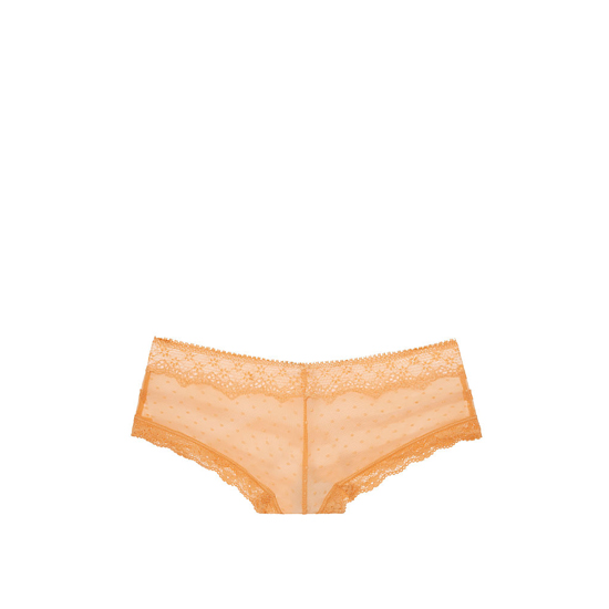 VICTORIA\'S SECRET Gold Earth NEW! Dot Lace & Mesh Cheeky Panty Outlet Online