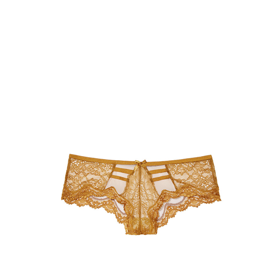 VICTORIA'S SECRET Bronze Brown NEW! Lace & Mesh Strappy Cheeky Panty Outlet Online