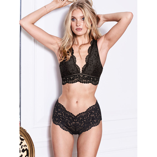VICTORIA\'S SECRET Black NEW! The Floral Lace Sexy Shortie Outlet Online