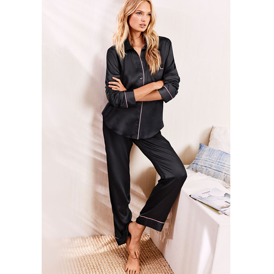 VICTORIA'S SECRET Black NEW! The Afterhours Satin Pajama Outlet Online