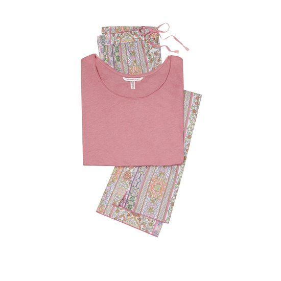 VICTORIA\'S SECRET Rosy Mauve/Pink Paisley Stripe NEW! The Mayfair Tee-jama Outlet Online