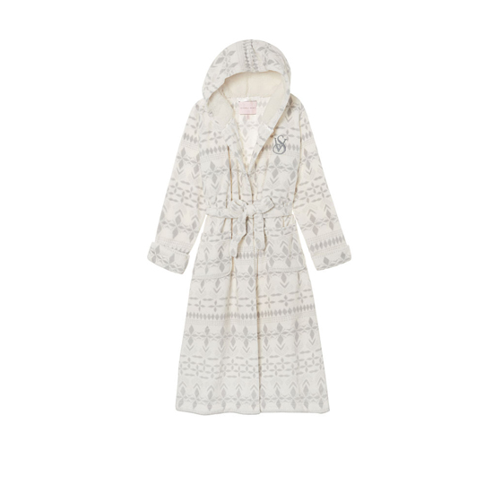VICTORIA'S SECRET Ivory Exploded Fairisle NEW! The Cozy Hooded Long Robe Outlet Online