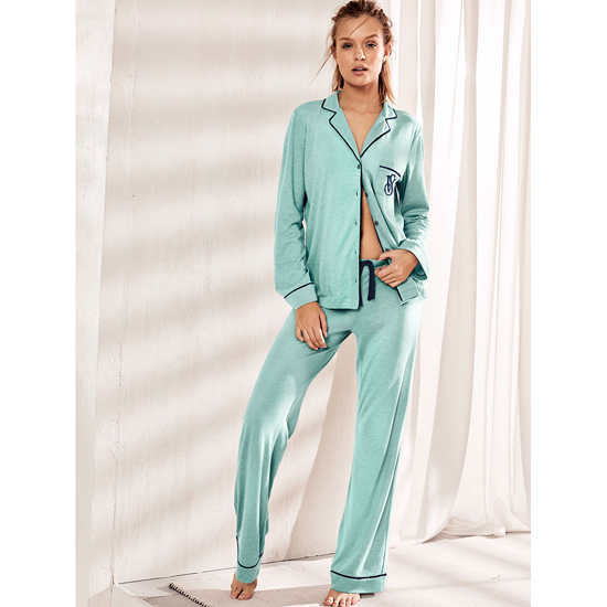 VICTORIA'S SECRET Cozumel Teal NEW! The Sleepover Knit Pajama Outlet Online