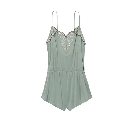 VICTORIA\'S SECRET Silver Sea NEW! Supersoft Crochet-trim Sleep Romper Outlet Online
