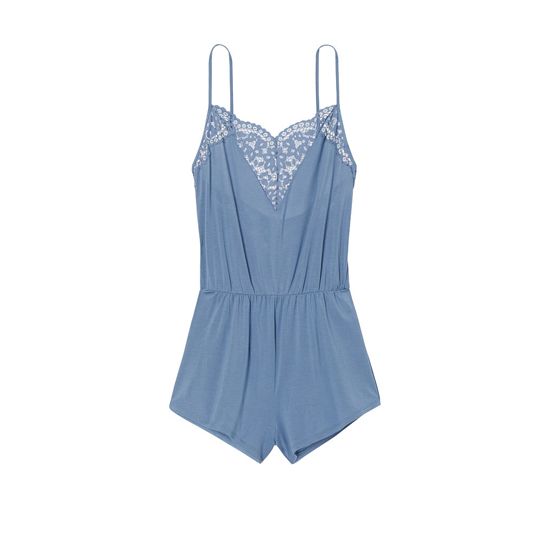VICTORIA\'S SECRET Faded Denim NEW! Supersoft Crochet-trim Sleep Romper Outlet Online