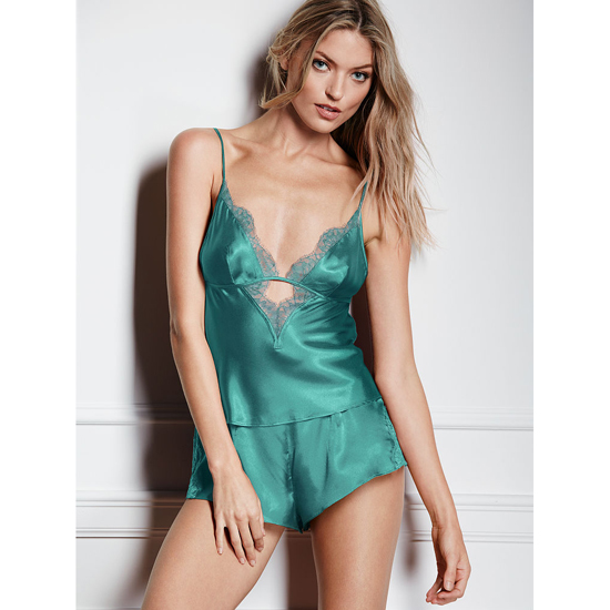 VICTORIA'S SECRET Cozumel Teal NEW! Satin & Lace Cami & Short Set Outlet Online