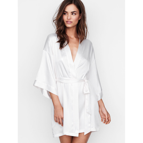 VICTORIA\'S SECRET Coconut White NEW! Satin Kimono Outlet Online