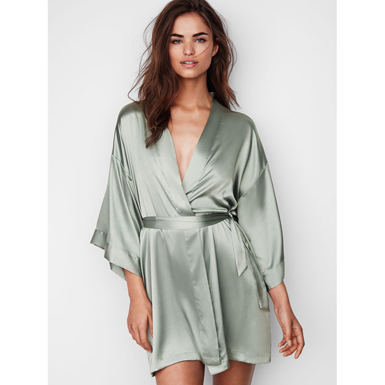VICTORIA\'S SECRET Silver Sea NEW! Satin Kimono Outlet Online