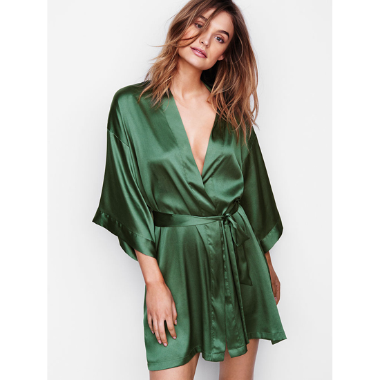 VICTORIA'S SECRET Cadette Green NEW! Satin Kimono Outlet Online