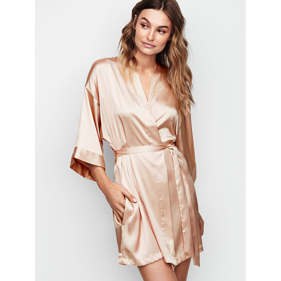 VICTORIA\'S SECRET Champagne NEW! Satin Kimono Outlet Online