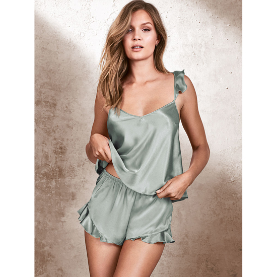 VICTORIA\'S SECRET Silver Sea NEW! Satin Cami & Short Set Outlet Online
