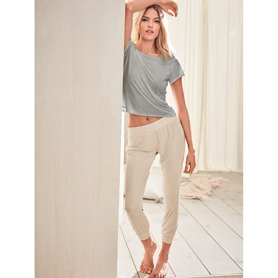VICTORIA'S SECRET Casual Oatmeal NEW! Ribbed Sleep Jogger Outlet Online
