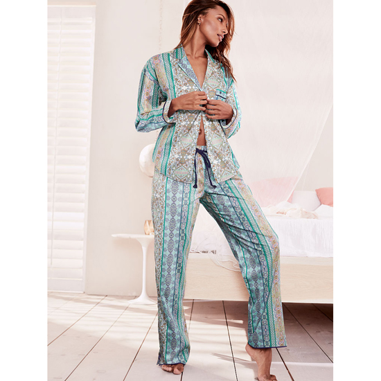 VICTORIA\'S SECRET Green/Blue Paisley Stripe NEW! The Mayfair Pajama Outlet Online