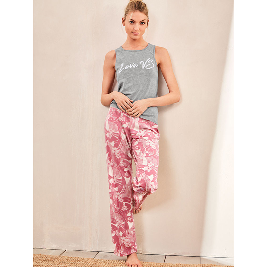 VICTORIA\'S SECRET Medium Heather Grey/Rosy Mauve Floral NEW! The Pillowtalk Tank Pajama Outlet Online