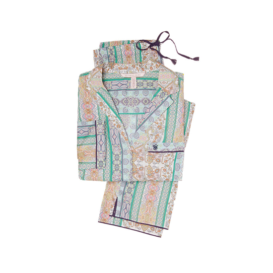 VICTORIA'S SECRET Green/Blue Paisley Stripe NEW! The Mayfair Pajama Outlet Online